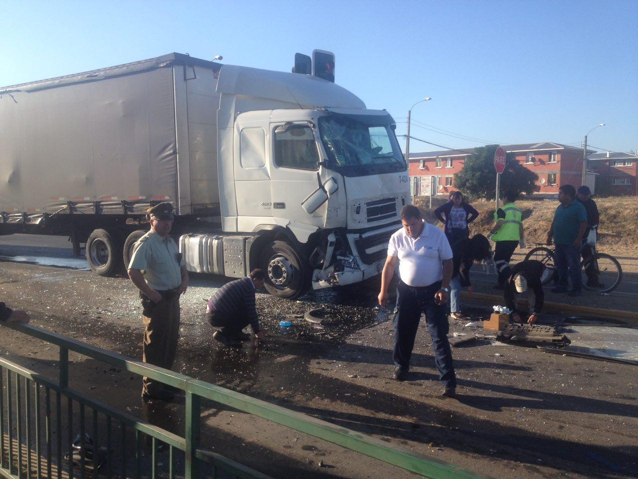 camión colisión Talca